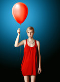 blonde in red dress with the red balloon