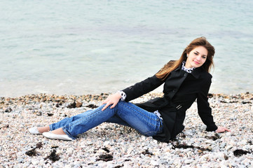 calm girl near the sea