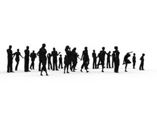 Silhouette folla