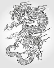 Asian tatuaż smoka
