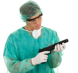 male medical doctor and gun