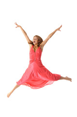 Happy young woman in jump