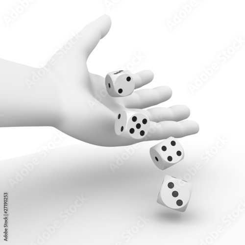 Dices rolling from a hand