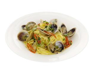 Fresh Clams with Spaghetti and Chilli