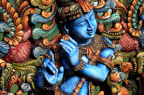 Aluminium Standbeeld Wooden Statue of lord krishna