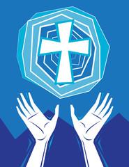 Hands Praising and Cross in Sky