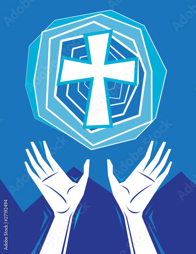 Hands Praising and Cross in Sky