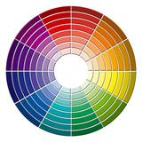pastilles de couleurs sur roue chromatique