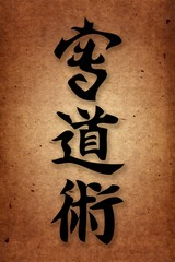 Martial arts.Kai do jitsu karate style.Background vintage