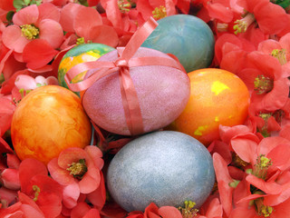 Easter eggs with red flowers