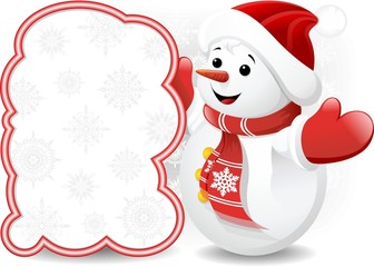 Pupazzo di Neve e Pannello-Baby Snowman Background-Vector