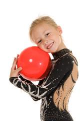 Beautiful girl gymnast with a ball