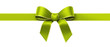 Green silk ribbon with golden edges panorama