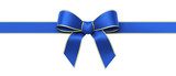 Blue silk ribbon with golden edges panorama