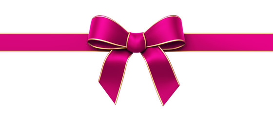 Pink silk ribbon with golden edges panorama