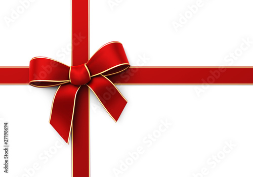 Present wrapped with red silk ribbon
