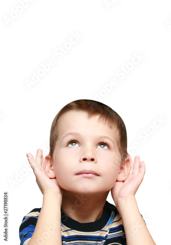 child looks up and listen