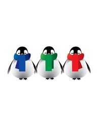 Penguins with colorful scarves