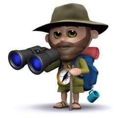 3d Hiker looks through binoculars