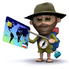 3d Hiker uses credit card to travel