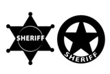 Black vector  Sheriff star on white background poster