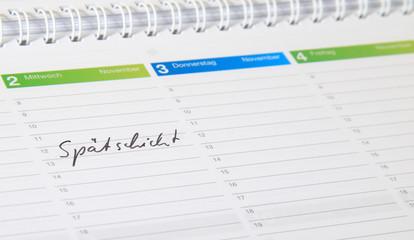 Kalendereintrag - Spätschicht.