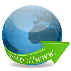 http text around globe