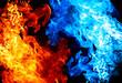 Leinwanddruck Bild - Red and blue fire on balck background