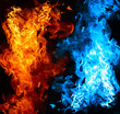 Leinwandbild Motiv Red and blue fire on balck background