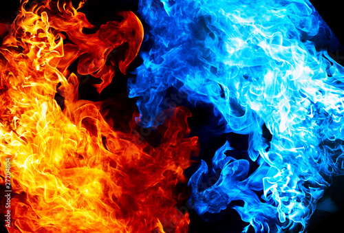 Red and blue fire on balck background - 27204804