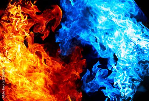 Leinwanddruck Bild Red and blue fire on balck background
