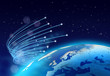 canvas print picture - Fibre optics around blue planet