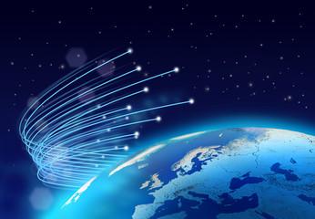 Fibre optics around blue planet