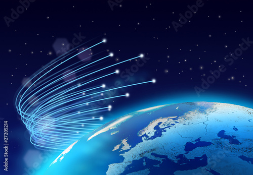 Deurstickers Luchtfoto Fibre optics around blue planet