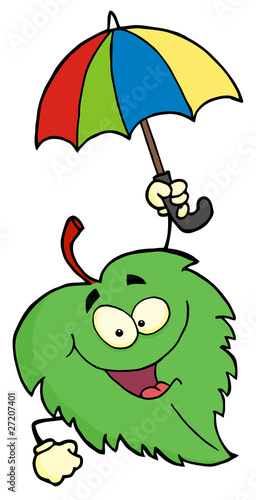 Green Leaf With Umbrella