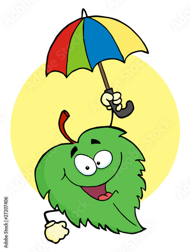 Happy Green Leaf With Umbrella