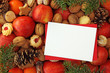 Christmas  food background with blank note close up