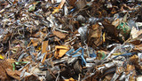 large pile of rubble on a junkyard poster
