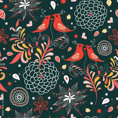 texture love birds among flowers - 27210820