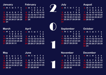 Classic calendar template for 2011. vector.