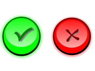 botones aceptar denegar