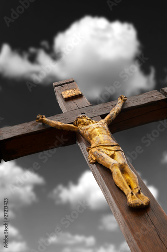 The crucifixion from a tree with Jesus's gilt figure