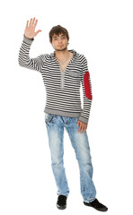 attractive guy makes a welcome gesture isolated on white