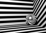 Fototapety imagen 3d de esfera de metal y fondo de lineas