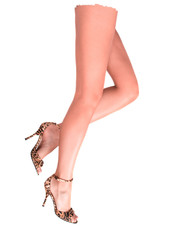 Beautiful female legs on white background.
