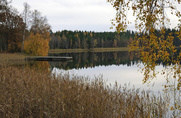 Scenic view for november's lake reflection
