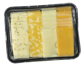 cheese tray slices in a vacuum package