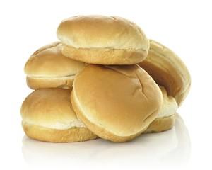 Hamburger buns isolated over white background