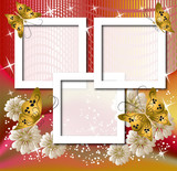 Page layout postcard with flowers, butterfly for inserting text poster