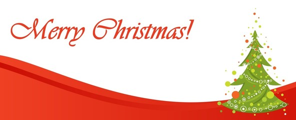 Red Merry Christmas  banner for web site design